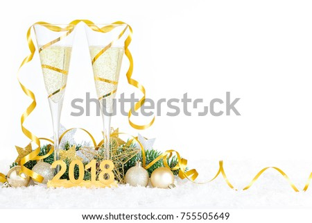 new year bubbling champagne flutes saying pop fizz clink with bokeh lights in the