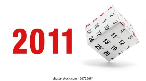 New Year and Calendar on White Background
