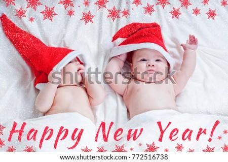6e9a38c678303 New Year Card Babies Santa Claus Stock Photo (Edit Now) 772516738 ...