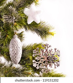 New year card with decorations and fur-tree for holiday design