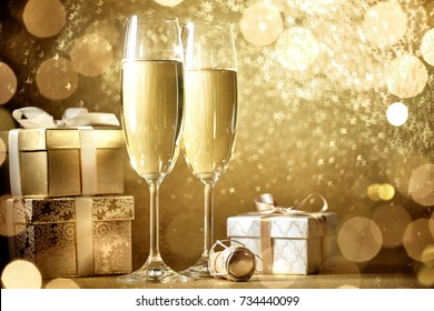 New year celebration with champagne and gift