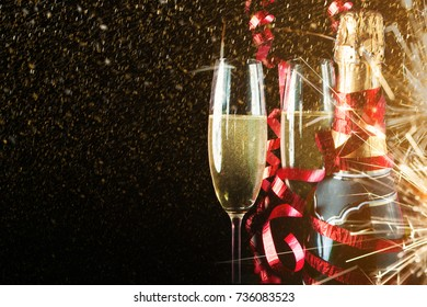 New year celebration with champagne. Holiday background