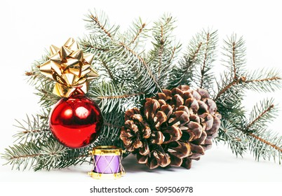 new year celebration, Christmas holiday stuff, tree, toys, decoration pattern isolated on white background, post card concept