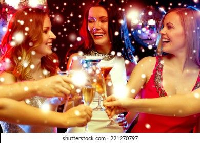 new year, celebration, friends, bachelorette party, birthday concept - three women in evening dresses with cocktails in club or bar