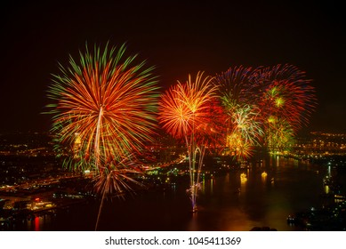 New Year celebrations in the central Chao Phraya river in Bangkok.