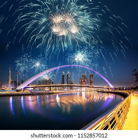 new year celebrations in Dubai - fireworks over Dubai downtown and tolerance bridge