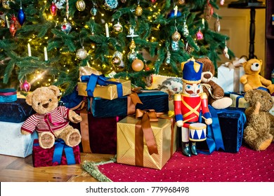 New Year and Christmas 2018. Christmas and New Year's toys and lights for the Christmas tree