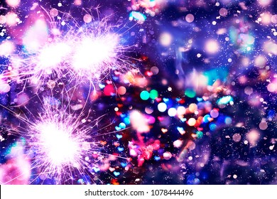 New Year Christmas. Abstract background, bokeh, Bengal lights, sparkles