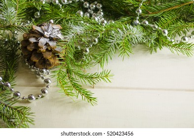 New Year and Christmas accessories as background in silver tones