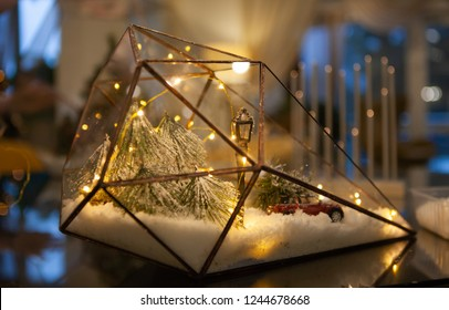 New Year or Christmas decoration, glass florarium, holiday mood