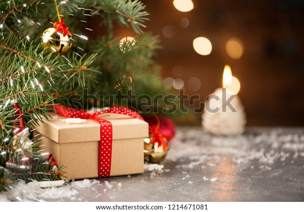 New Year or Christmas Gift Box with Red Ribbon.