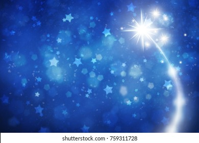 New Year and Christmas Holiday illustration copy space background with fireworks, blurred star shapes and snowflakes.
