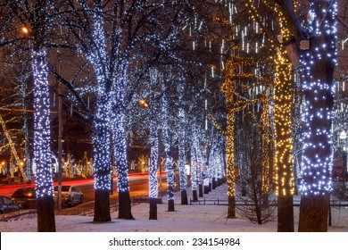 New Year and Christmas lighting decoration of the city. Russia, Moscow, Tverskoy Boulevard