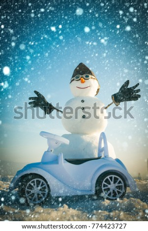 afae1baddefd3 new year christmas snow concept New year snowman in pilot hat and glasses.  Xmas or christmas decoration