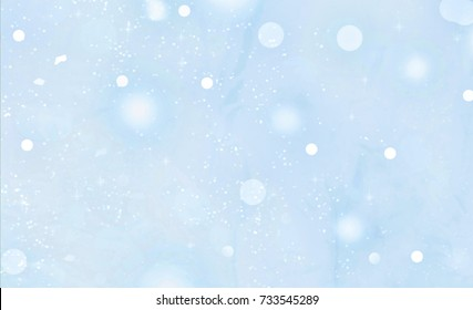 New Year. Christmas. A soft blue background with falling snow. Abstraction. Blur.