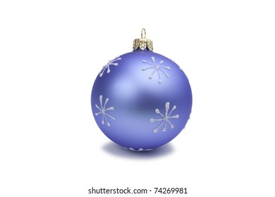 New Year Christmas spherical rounded blue glass toy with painted snowflakes