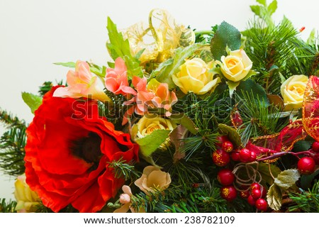 new year and christmas wreath decorated with flowers merry christmas happy new year