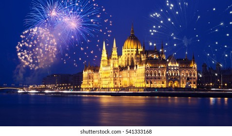 new Year in the city - Budapest Parliament with fireworks