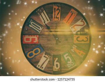 New year clock before midnight - retro style image