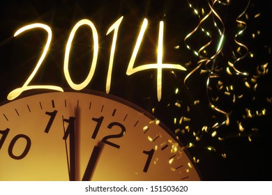 new year clock before midnight,2014