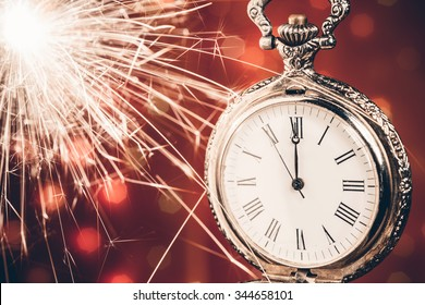 New year clock on bokeh background