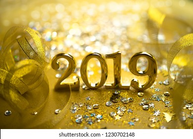 New year closeup golden 2019 numbers