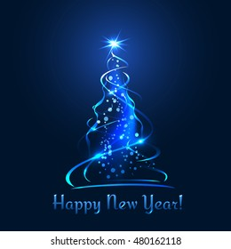 New Year colorful tree. Stars, ribbons, balls and text with glow effect, on blue background. Christmas template for website or greeting card.