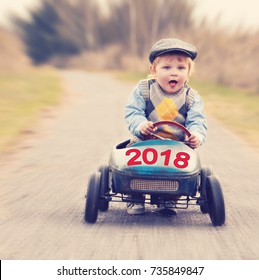 new year concept, new year 2018 on a vintage old toy car is coming