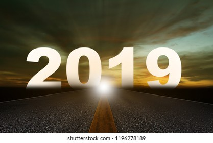 New year concept background, road to 2019, future ahead