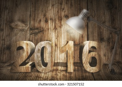 New Year Concept With desktop Lamp