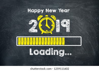 New year concepts 2019 countdown clock on blackboard