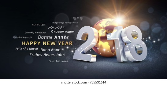 New Year date 2018 composed with a golden planet earth and greeting words in multiple languages - 3D illustration