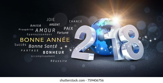 New Year date 2018 composed with a blue planet earth and best Greetings in French - 3D illustration