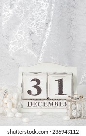 New Year Date On Calendar. December 31. Christmas Decorations. Gift Boxes With Sweets.