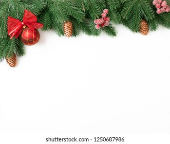 New Year decorated spruce branches