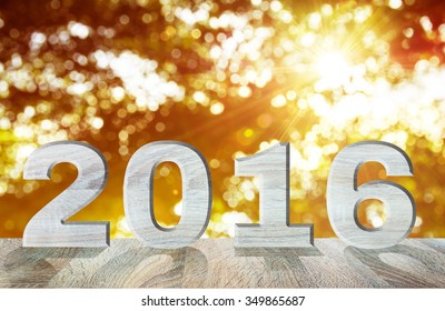 New year decoration 2016 year wood number