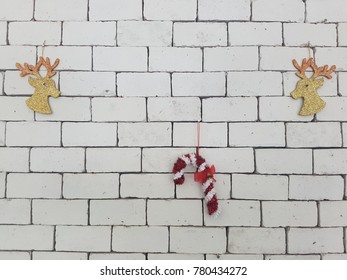 New year decoration on brick wall