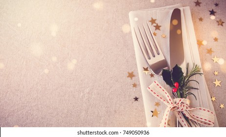 New Year eve 2018, Christmas food lunch, dinner table place setting, festive background