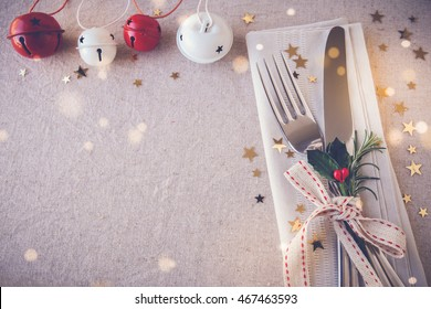 New Year eve 2020, Christmas food menu lunch, holiday dinner table place setting, festive background