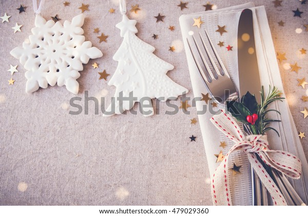 New Year eve 2021, Christmas food menu lunch, holiday dinner table place setting, festive background