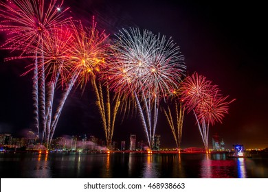 New year Firework display at Galleria Mall facing the city view on 31st December 2014.