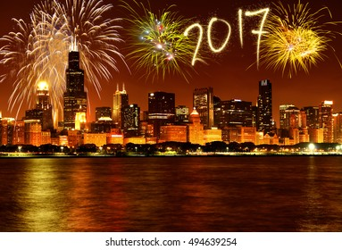 New Year fireworks in Chicago, USA