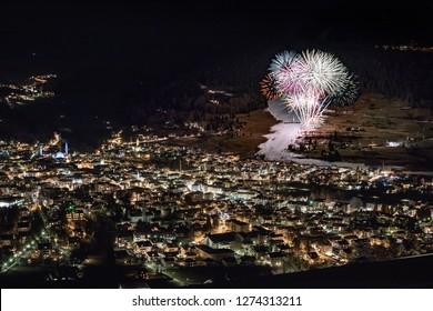 New Year fireworks display in Bormio, Valtellina, Italy
