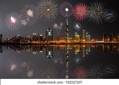 New Year fireworks display at Dubai, UAE
