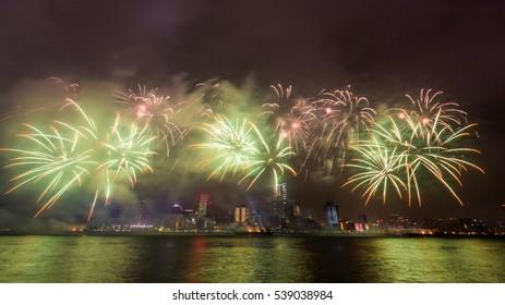 New year fireworks in Hong Kong, China