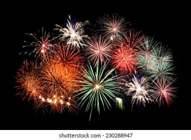New Year fireworks on black