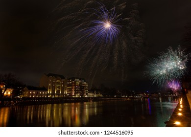 New year fireworks over the city Norrkoping in Sweden