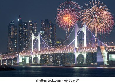 New Year Fireworks show at Gwangan Bridge with Busan city in background at Busan, South Korea