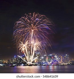New Year fireworks in Sydney over city CBD and harbour. Pyrotechnics draws bright lights tree in the sky over urban illumination and landmarks.