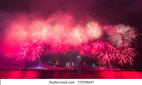 New Year Fireworks at Victoria Harbor in Hong Kong.